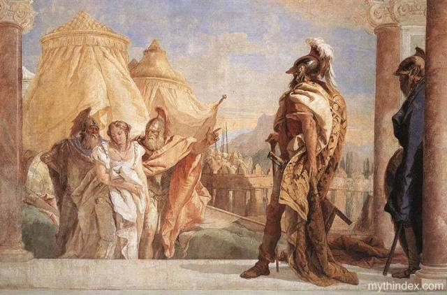 Eurybates and Talthybius Lead Briseis to Agamemnon, by Giovanni Battista Tiepolo (1696-1770).